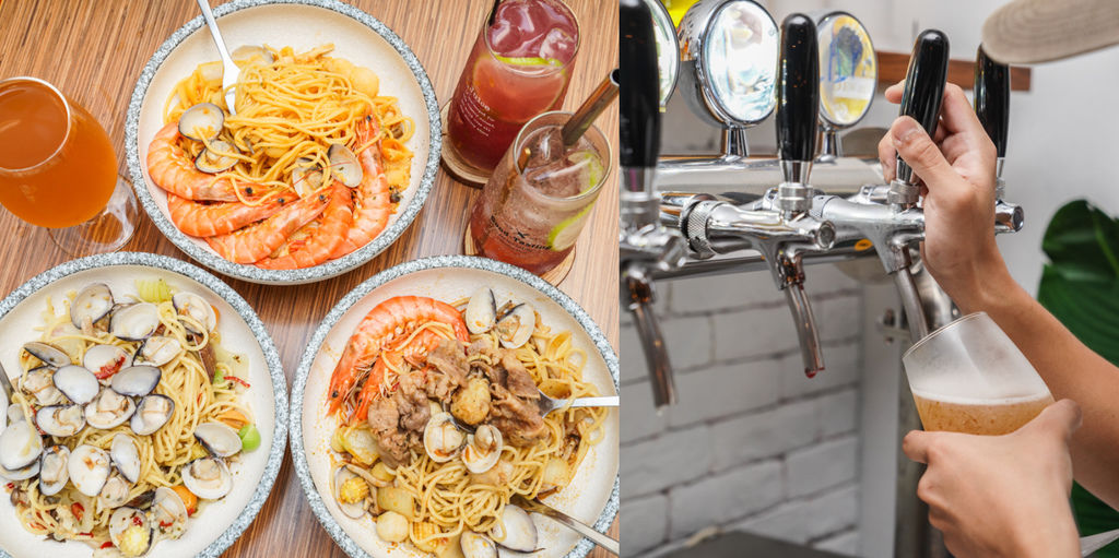 『蒜酒李 Pasta&Beer』精釀啤酒配大份量爆料義大利麵、桃園宵夜、桃園聚餐推薦 @梅格(Angelababy)享樂日記
